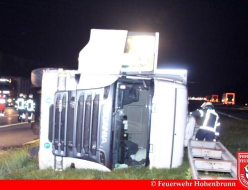 Umgestürzter LKW auf der A99